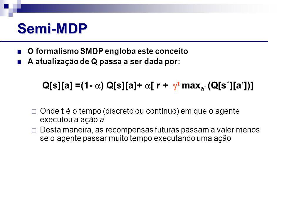 Q[s][a] =(1- ) Q[s][a]+ [ r + t maxa' (Q[s´][a'])]